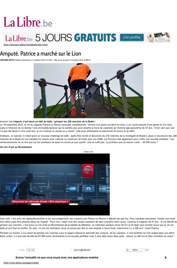 Amputé, Patrice a marché sur le Lion - La Libre